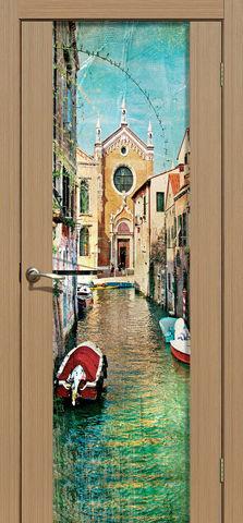 Дверь La Stella 303 фотопечать с одной стороны (Венеция), фотопечать с двух сторон, цвет тиковое дерево, остекленная
