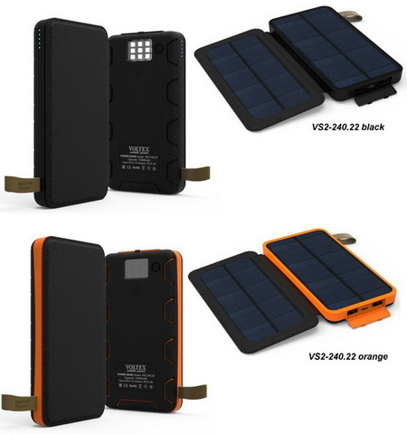 Power Bank Voltex VS2-240.22 2xUSB 10400mAh влагозащита + 2 cолнечных батареи black