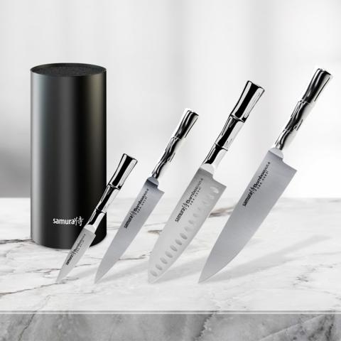 Набор из 4 кухонных стальных ножей Samura BAMBOO и подставки KBF-102
