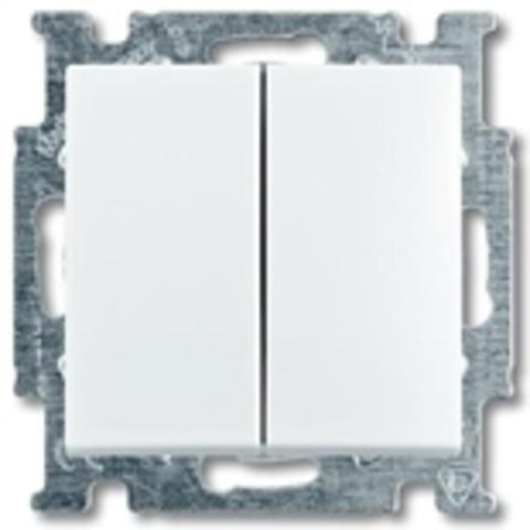 Переключатель двухклавишный. Цвет белый. ABB Basic 55. 1012-0-2144