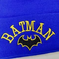 Вязаная шапка с вышивкой Бэтмен (Batman) голубая фото 2