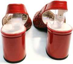 Красные кожаные босоножки туфли с открытой пяткой на каблуке G.U.E.R.O G067-TN Red.