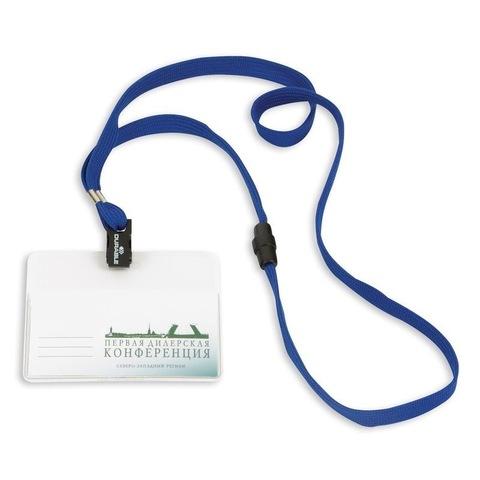 Бейдж Durable горизонтальный 90х60 мм с синей тесьмой (10 штук в упаковке)