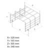 Размеры защитной решетки аварийного светильника потолочного типа ZONESPOT II MIDBAY