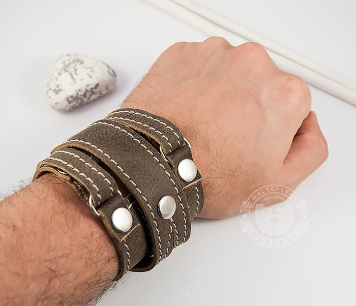 BL425-2 Широкий мужской браслет из кожи, ручная работа,  «Boroda Design» фото 07
