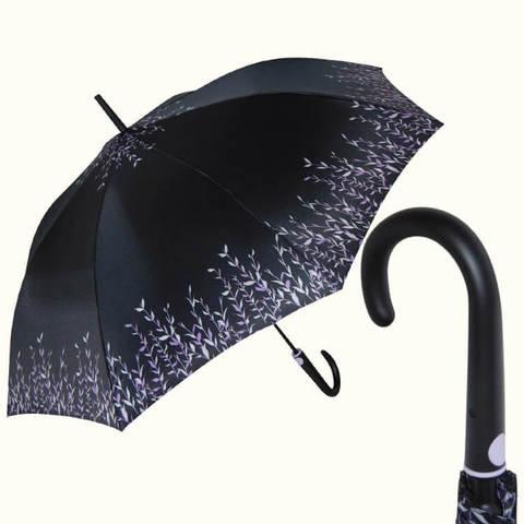 чёрный зонт-трость  женская, травяной принт