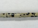 Бусина из яшмы далматинец, фигурная, 4x6 мм (цилиндр, гладкая)