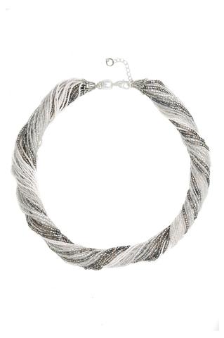 Бисерное ожерелье из 48 нитей, цвет черно-серебристый