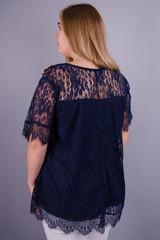Квітка Роза. Блуза з гіпюру plus size. Синій.