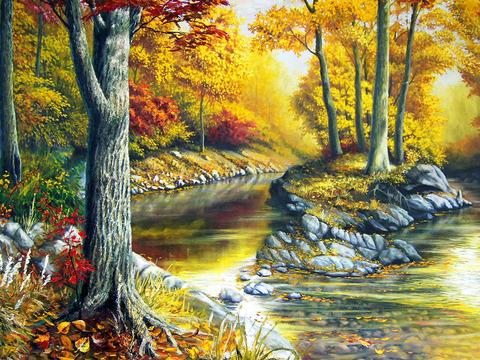Алмазная Мозаика 30x40 Деревья у реки