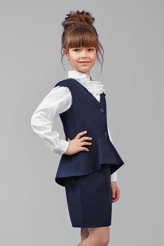 Жилет синий для девочки 34-8003-2
