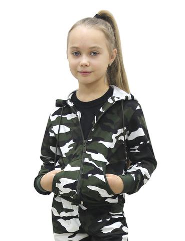 Костюм детский трикотажный BVR-Sport (Футер Бело-зелёный КМФ 3806) 100 % хлопок