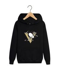 Толстовка черная с капюшоном (худи, кенгуру) и принтом НХЛ Питтсбург Пингвинз (NHL Pittsburgh Penguins) 007
