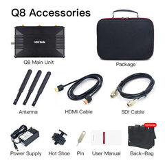 Базовая комплектация - энкодер mine Q8, кейс, крепление на холодный башмак, антенны, блок питания, провода HDMI, SDI, инструкция, сумка опционально