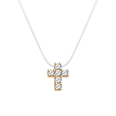 7219- Золотой крестик на леске-невидимке с замками из золота 585 пробы