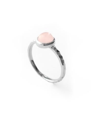 Серебряное узкое кольцо с розовым кварцем