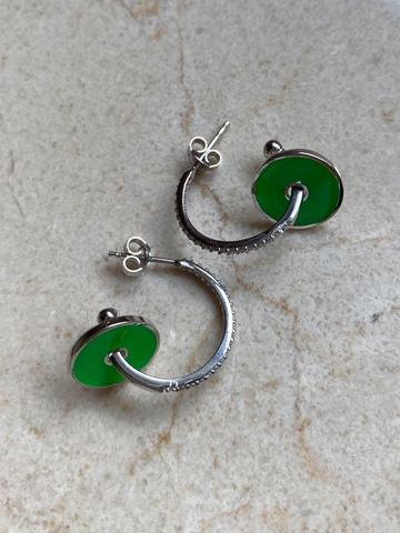 Серьги Пирс из серебра, зеленая эмаль