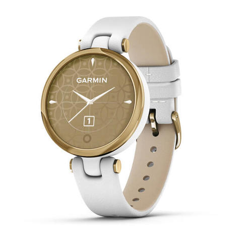 Garmin Lily Classic - Light Gold Bezel with White Case and Italian Leather Band