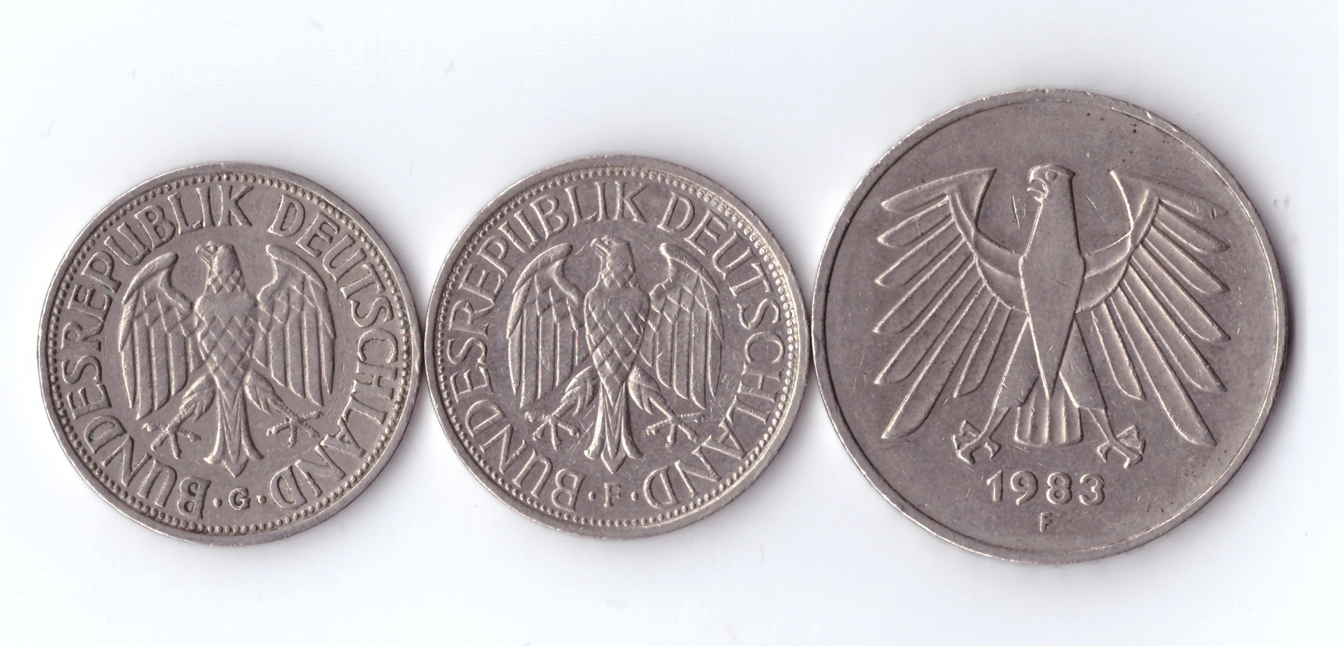 Набор из 3 монет ФРГ номиналом 1 и 5 марок (1950-1988гг).