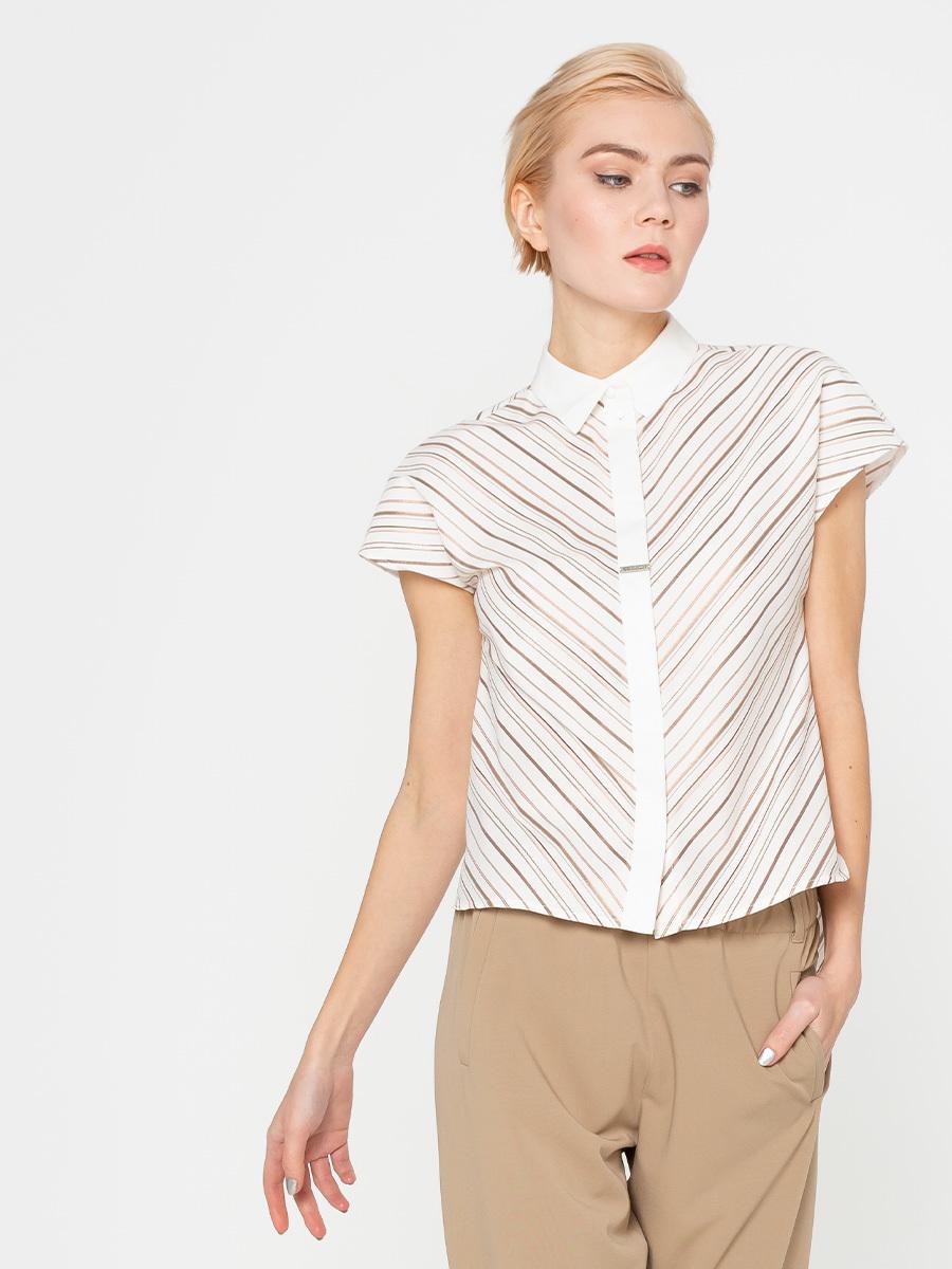 Блуза Г558-723 - Хлопковая блуза с цельнокроеным  коротким рукавом, отложным воротником и супатной застежкой на пуговицах. Расположение полоски  визуально стройнит силуэт. Эта модель станет неотъемлемой частью гардероба в деловом стиле.