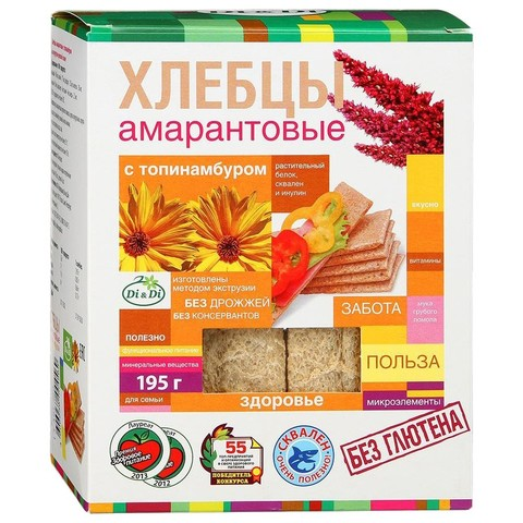 Хлебцы амарантовые с топинамбуром без глютена Di&Di, 195г