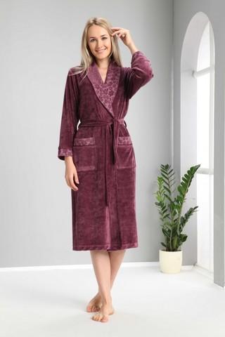Халат женский  велюровый 0377 фиолетовый Clara NUSA Турция