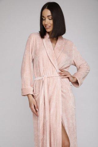 Велюровый женский халат 807 пудра