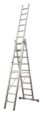 Универсальная лестница с перекладинами-дополнительной функцией, трехсекционная KRAUSE STABILO, 3х10