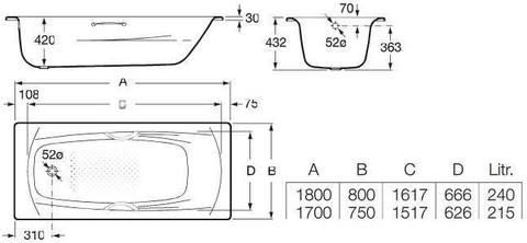 Ванна стальная Roca SWING 170х75 см.. схема