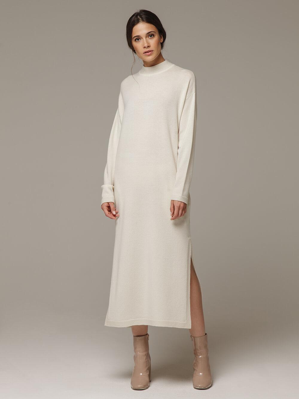 Женское белое платье с разрезами из шерсти и кашемира - фото 1