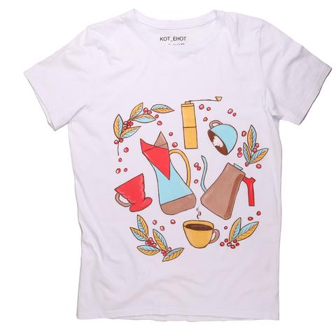 Кофейная футболка КОТ_ЕНОТ с авторским рисунком