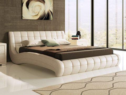 Кровать двуспальная Nuvola 1 (Нувола 1) Экокожа Sprinter Pearl