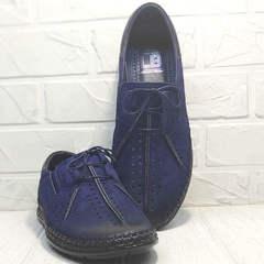 Синие мокасины туфли кожаные мужские Luciano Bellini 91268-S-321 Black Blue.