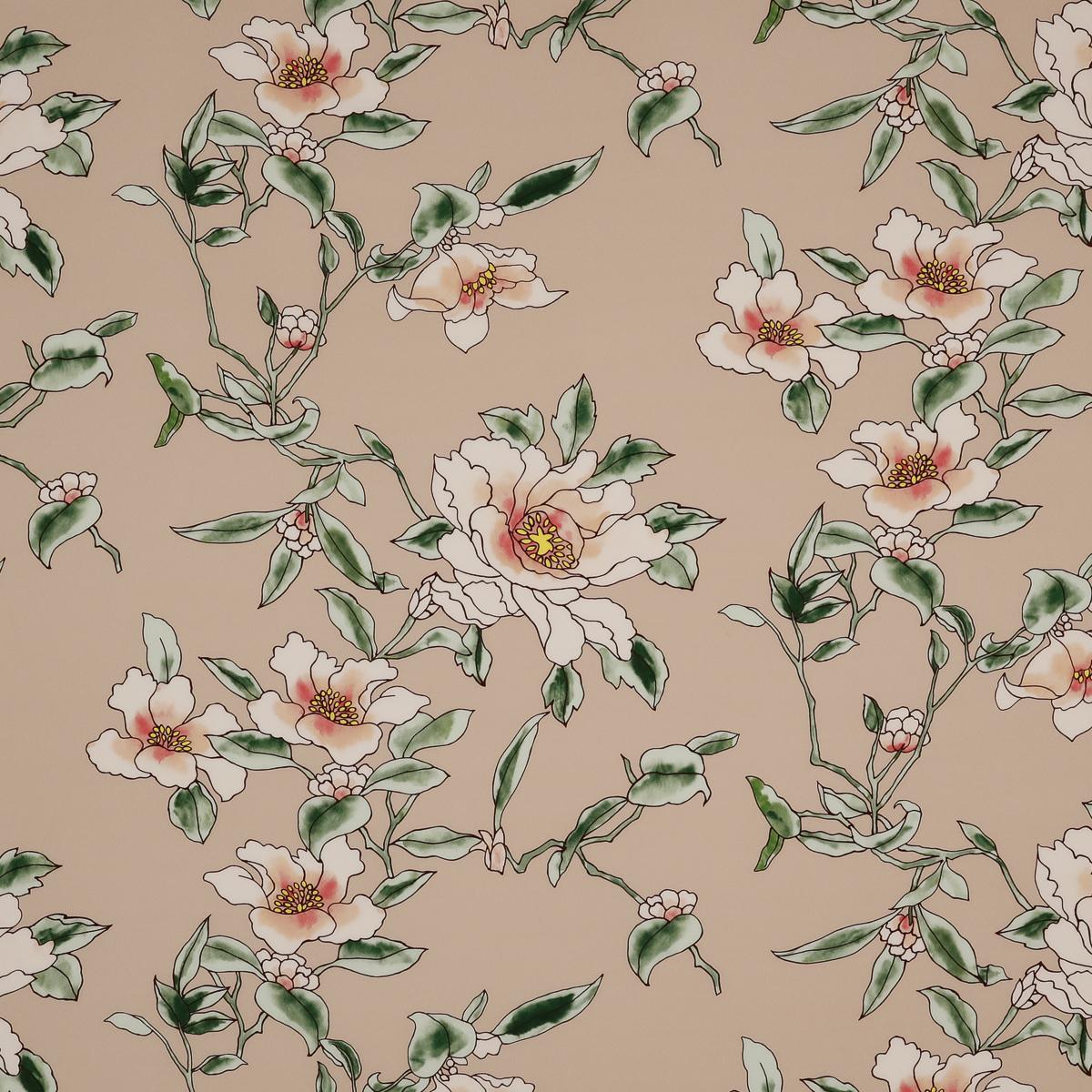 Шёлковый крепдешин с цветами на телесно-персиковом фоне