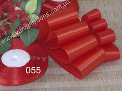 Лента атласная однотонная красная  - 055.
