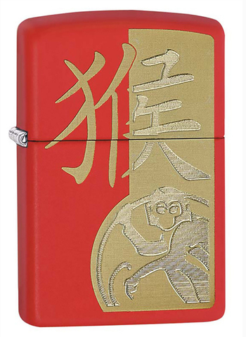 Зажигалка Zippo 233 Year Of The Monkey, латунь/сталь с покрытием Red Matte, красная, 36x12x56 мм