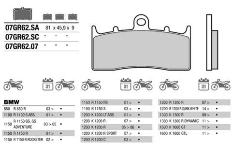 Тормозные колодки Brembo 07GR6207 для BMW (FDB2124)