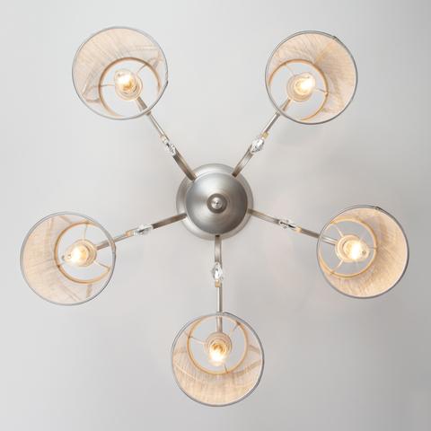 Потолочная люстра с абажурами 60065/5 серебро