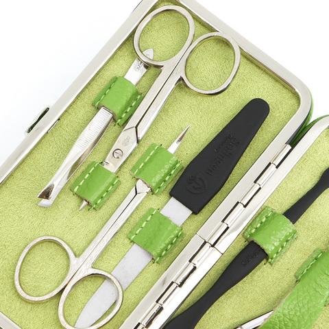 Маникюрный набор GD, 7 предметов, цвет зеленый, кожаный футляр