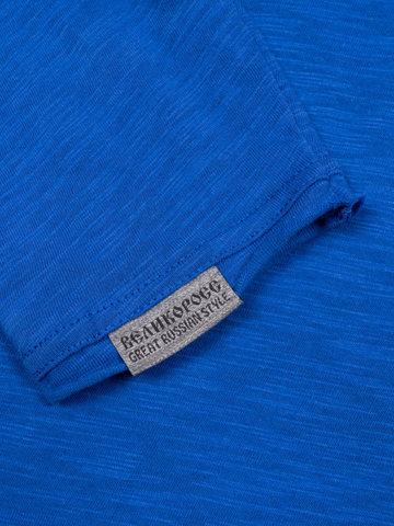 Long-sleeved V-neck blue t-shirt
