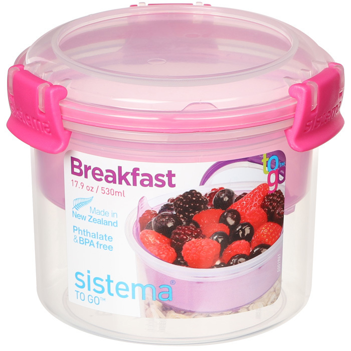 """Ланч-бокс с ложкой Sistema """"Breakfast TO GO"""", двойной, 530 мл, цвет Розовый"""