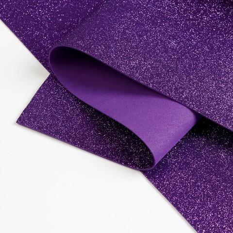 Фиолетовый глиттерный фоамиран 1,8мм №8323 лист 20*30см