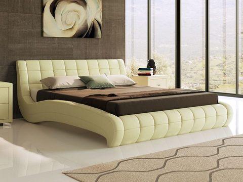 Кровать двуспальная Nuvola 1 (Нувола 1) Экокожа Кремовая