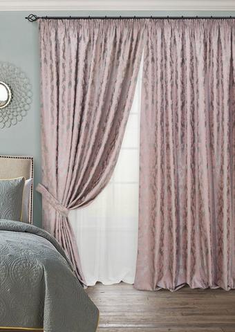 Комплект штор с тюлем и подхватами жаккард Афина розовый