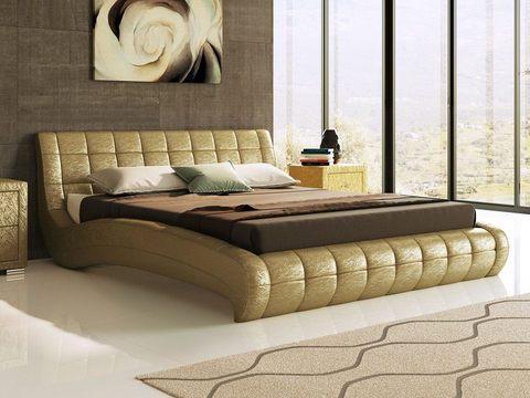 Кровать двуспальная Nuvola 1 (Нувола 1) Экокожа Sprinter Gold