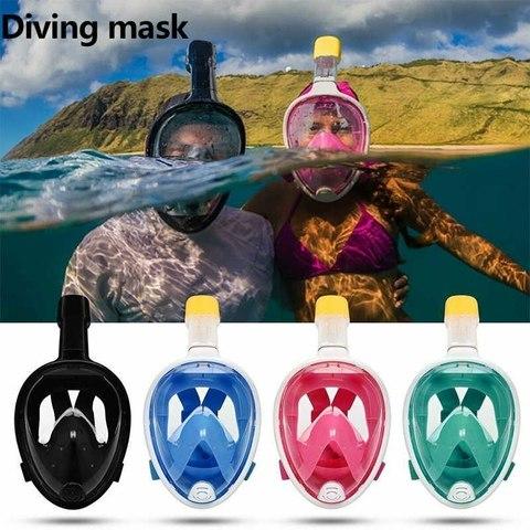 Полнолицевая маска для подводного плавания (снорклинга) Free Breath с креплением для экшн камеры (голубая)