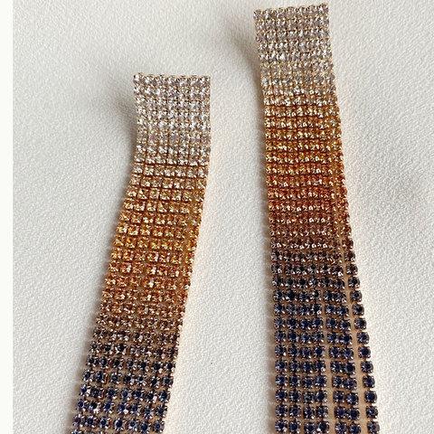 Серьги каскадные с кристалалми (оранжевый, фиолетовый)