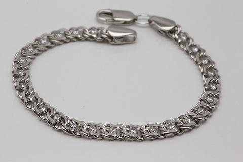 Браслет серебро 925 бисмарк с фианитами 530-БРП-0,8-430/1