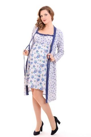 Комплект для беременных и кормящих с халатом и сорочкой 09256 разноцветный