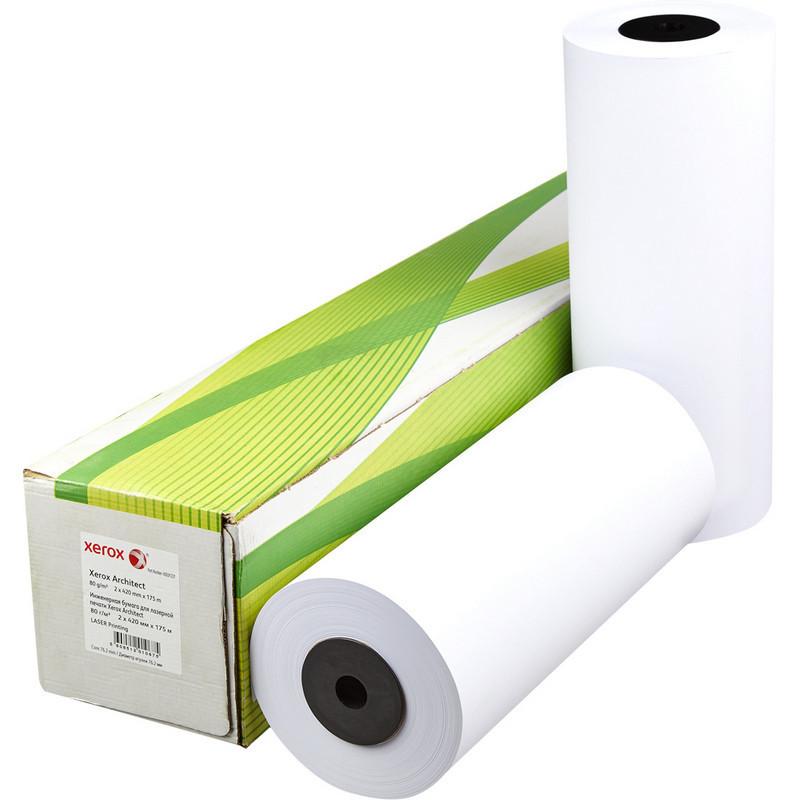 Бумага широкоформатная Xerox Architect (длина 175 м, ширина 420 мм, плотность 80 г/кв.м, белизна 170% CIE, диаметр втулки 76 мм)